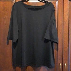 Susan graver black basic shirt CL roomy EUC basic
